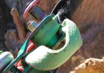 Webbing slippage and tie-offs in highline rigging