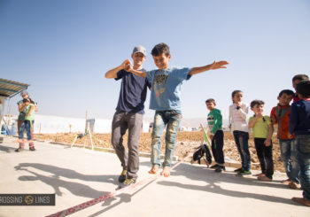 Crossing Lines teaching slacklining to refugees in Lebanon in 2017